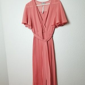 ASOS Coral Pink Pleated Maxi Dress